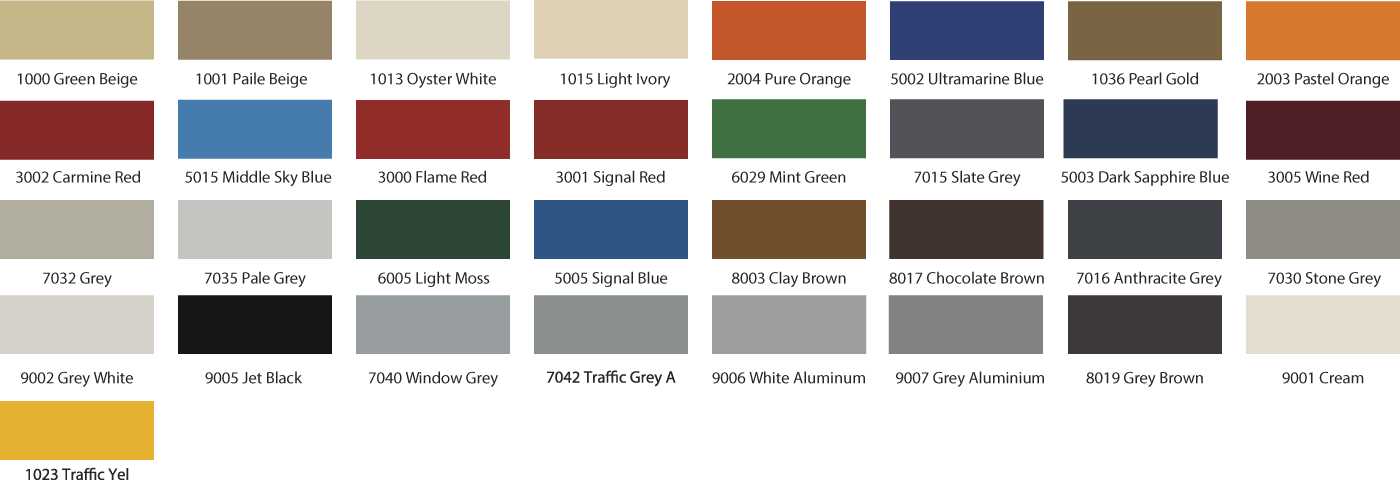 Ral Colour Chart Auto Mate Systems